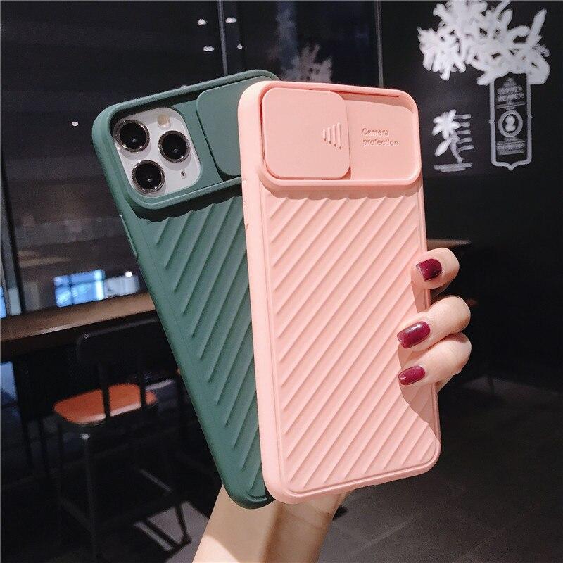 Stoßfest Slide Kamera Objektiv Schutz Telefon Fall Für iPhone 11 Pro Max X XR XS Max 8 7 6s plus 8Plus Silikon Abdeckung CamShield