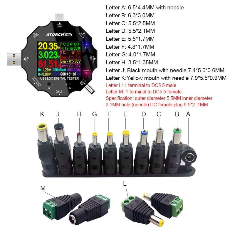 DC5.5 For APP 18 في 1 USB 3.0 فاحص تيار مستمر الفولتميتر الرقمي قوة البنك شاحن الجهد الحالي مقياس التيار الكهربائي كاشف متر ومجموعات