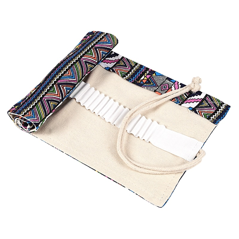 Bolso escolar de lona, estuche de almacenamiento para bolígrafos, caja de 48 agujeros, estilo nacional