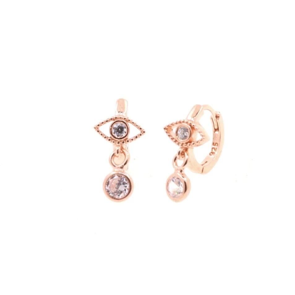 silver color rose gold clear cz cute lovely turkish evil eye hoop earring minimal delicate dainty girl women jewelry wholesale