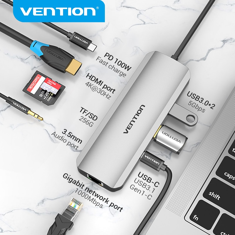 Vention USB C Hub USB نوع C 3.1 إلى 4K HDMI RJ45 PD USB 3.0 OTG محول قفص الاتهام لماك بوك اير برو 2020 هواوي ماتي 30 قطعة USB HUB