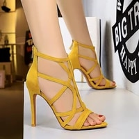 2021 women fetish stripper sandals ankle boots 11cm high heels lace up gladiator gladiator peep toe yellow summer blue shoes