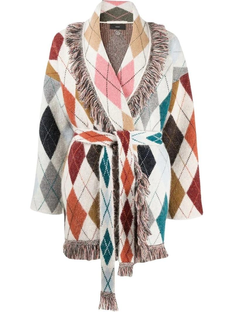 Diamond Lattice Oversized Cardigan Winter Woman Sweaters Tassel Wool Turn-down Collar Long Sleeve England Style Knitted Cardigan enlarge