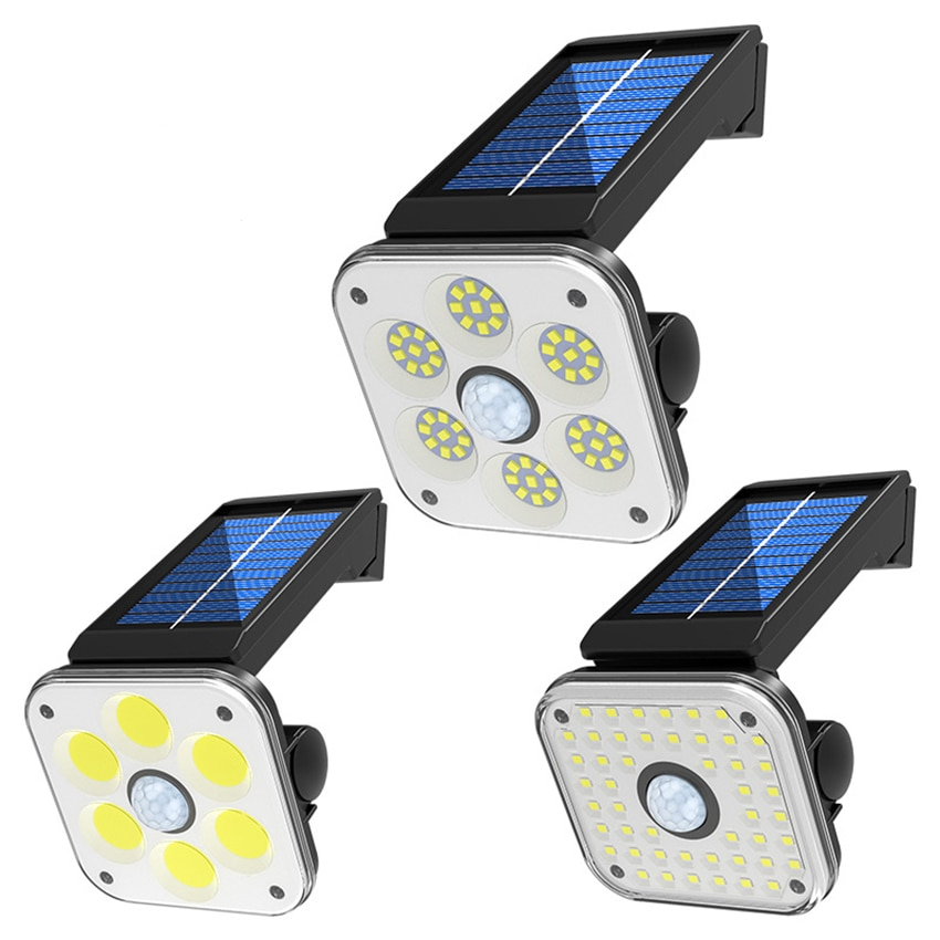 Solar Lights Outdoor, 48SMD, 54SMD, 54COB, 32LED Solar Powered Porch Lights with 2400mAh Battery, Wall Mount Security Lighting