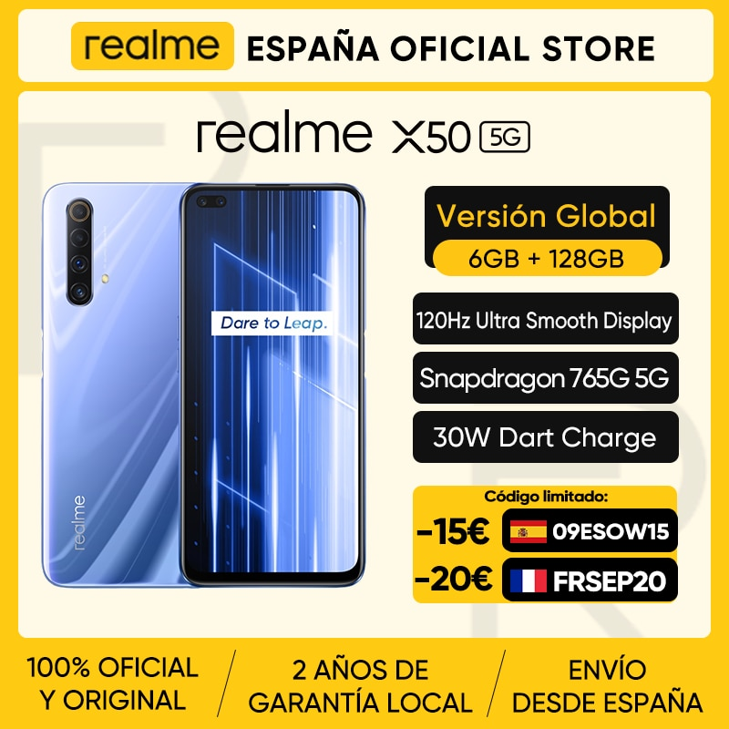 realme X50 X 50 5G 6GB 128GB 6.57'' Smartphone Snapdragon 765G 120Hz Ultra Display 48MP Quad Cameras Cellphone 30W Fast Charger