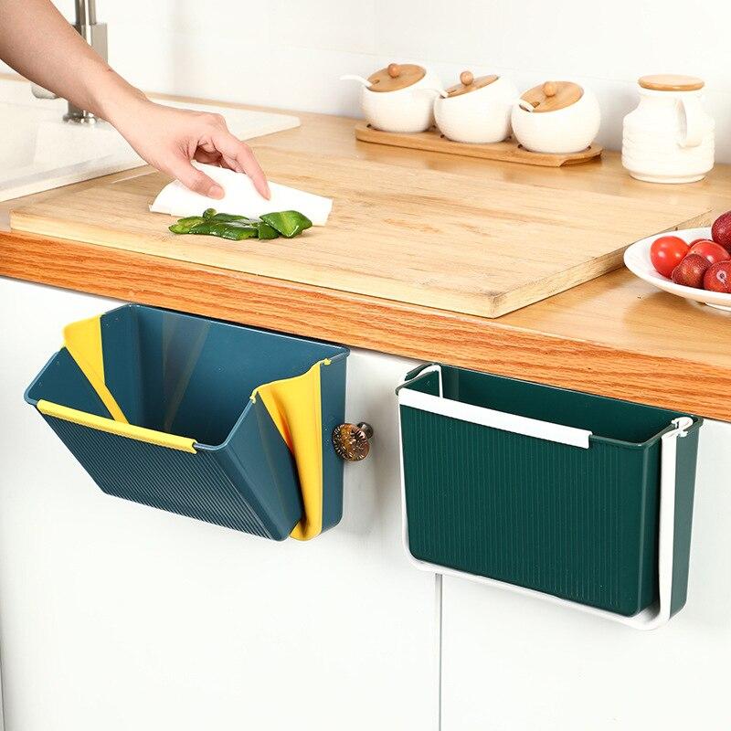 Kitchen Household Wall-Mounted Folding Trash Storage Bin Vehicle-Mounted Multi-Function Hanging Square Storage Trash
