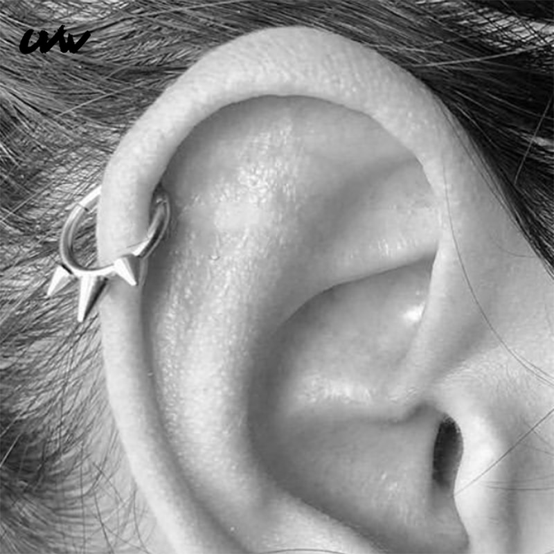 UVW417 1 шт трендовые 316L стальные круглые шпильки сегмент Tragus поддельные перегородки носовые Кольца ШПИЛЬКА Спираль пирсинг ювелирные изделия...