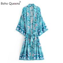 Chic Vintage mujer Tigre Floral fajas Kimono bohemio traje de señoras con cuello en V de manga murciélago Boho Maxi vestido