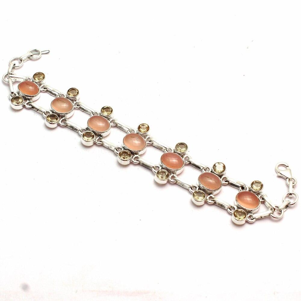 Натуральная розовый кварц + Цитрин 100?5 пробы браслет из серебра 925 пробы серебро GRP-B