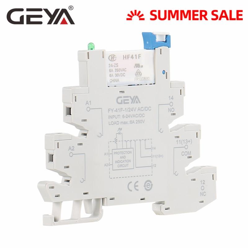 GEYA 6.2mm thickness Slim Relay Socket with Hongfa Relay 12VDC/AC or 24VDC/AC Plug Relay