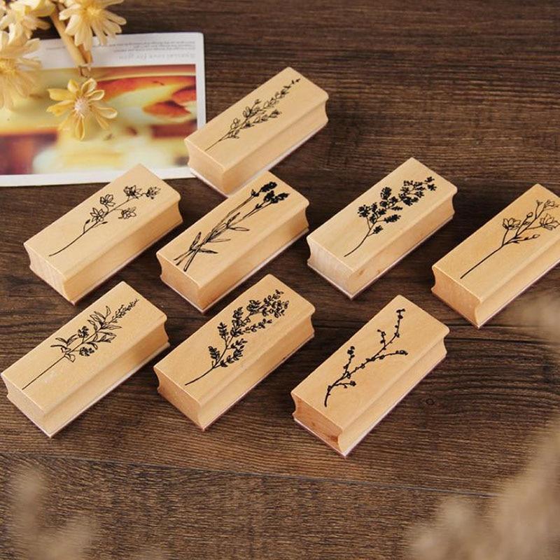 1 Uds. Serie de colección de hierba de la flor de la vendimia sello de la planta DIY artesanía sellos de goma madera para Scrapbooking álbum diario papelería