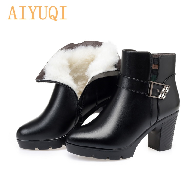 AIYUQI Ankle Boots Genuine Leather Women 2021 new high heel shoes boots shoes women wool winter warm