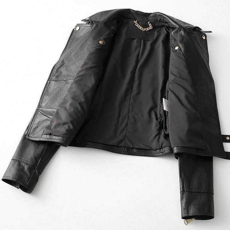 Black Sheep Skin Genuine Leather Coat Korean Spring Autumn 2021Turndown Collar Zipper Motorcycle Slim Casual Short Ladies Jacket enlarge