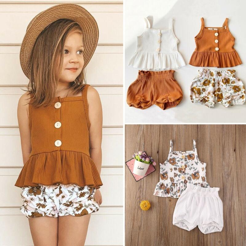 Bonita blusa para niña pequeña de chifón sin mangas amarillo Floral, faldas tutú, 2 uds. De ropa, conjunto de traje, conjunto de ropa de bebé de verano