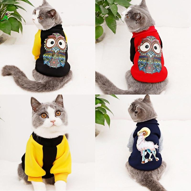 Encantador gato ropa abrigo mascota gato perro sudaderas con capucha para pequeño perro gatito invierno primavera chaqueta sudadera de mascota gato ropa atuendo 40