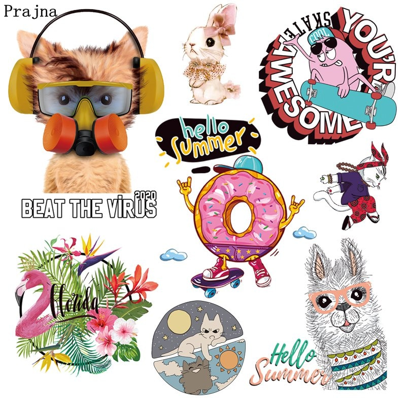 Prajna animales de dibujos animados Iron-On Transfers para la ropa camiseta verano estilo transferencia térmica caliente vinilo pegatinas de planchar en los niños