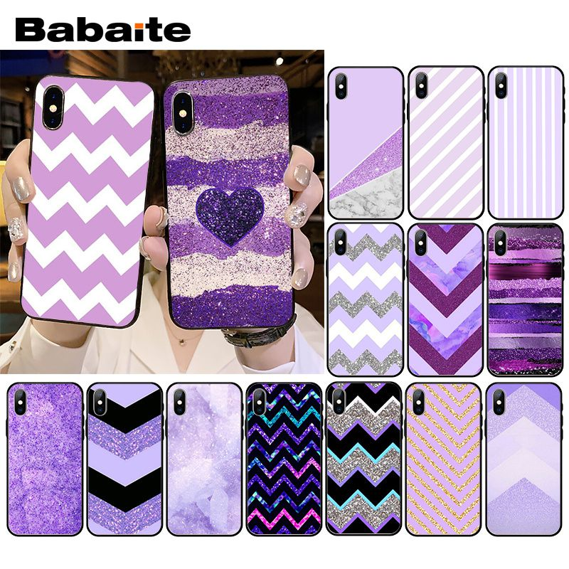 Babaite Love Purple Glitter wave Phone Case for iPhone XR 11 Pro MaxXS MAX  8 7 6 6S Plus X 5 5S SE