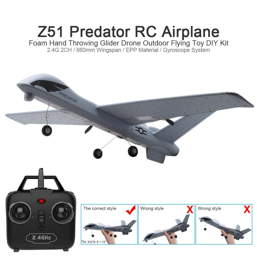 RC Airplane Plane Z51 20 Minutes Fligt Time Gliders 2.4G Flying Model with LED Hand Throwing Wingspa