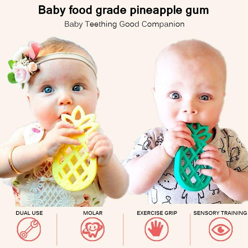 Mordedor de silicona blanda con forma de piña, juguetes para la dentición del bebé, chupete para las encías, mordedor para bebés, herramienta para la dentición del bebé