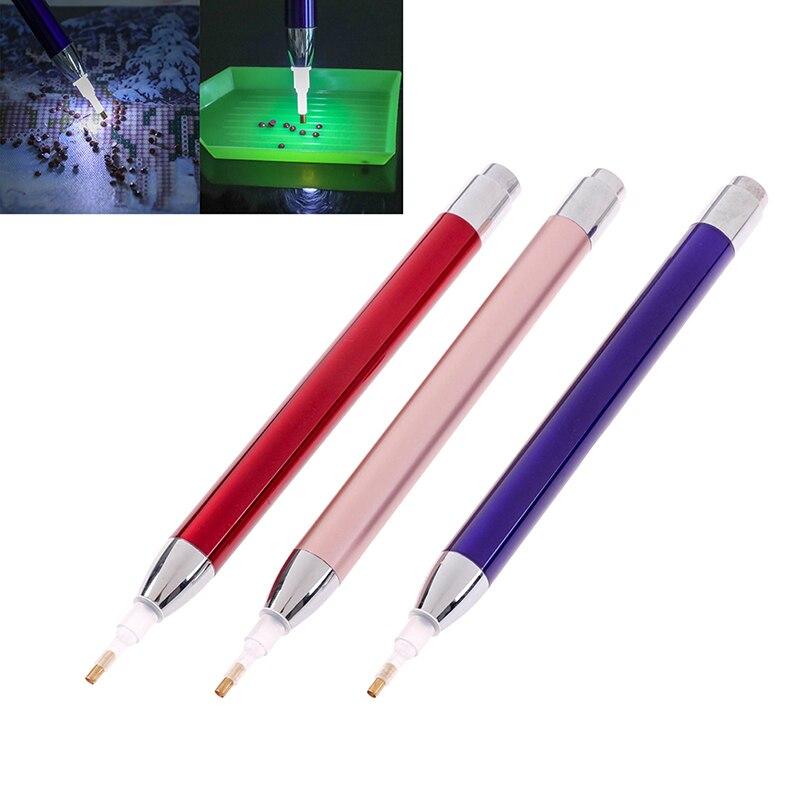 1 Uds., herramienta de pintura de diamante, punta de taladro, iluminación de bolígrafos de diamante, pintura 5D con accesorios de diamantes