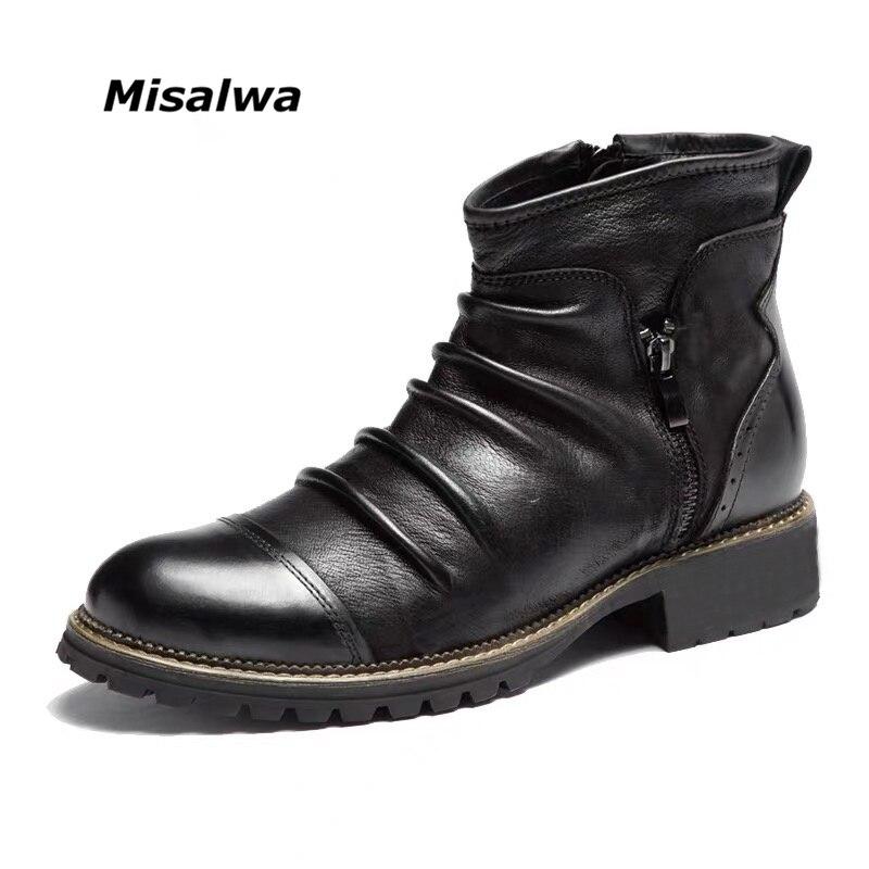 Misalwa europeu eua ocidental chelsea botas de cowboy retro masculino botas tripla joint zip botas masculinas botas curtas 39-48 dropshipping