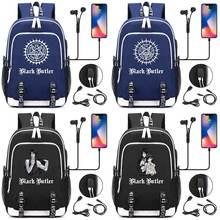 New Fashion Anmie Cartoon Black Butler USB Boy Girl Book School bag Women Teenagers Men Laptop Backpack Packsack