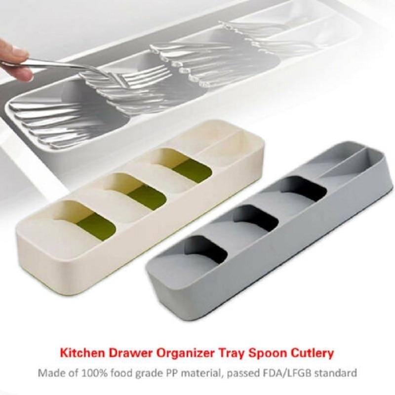 Bandeja para insertar cubertería cuchara utensilio divisor organizador cajón de cocina compacto