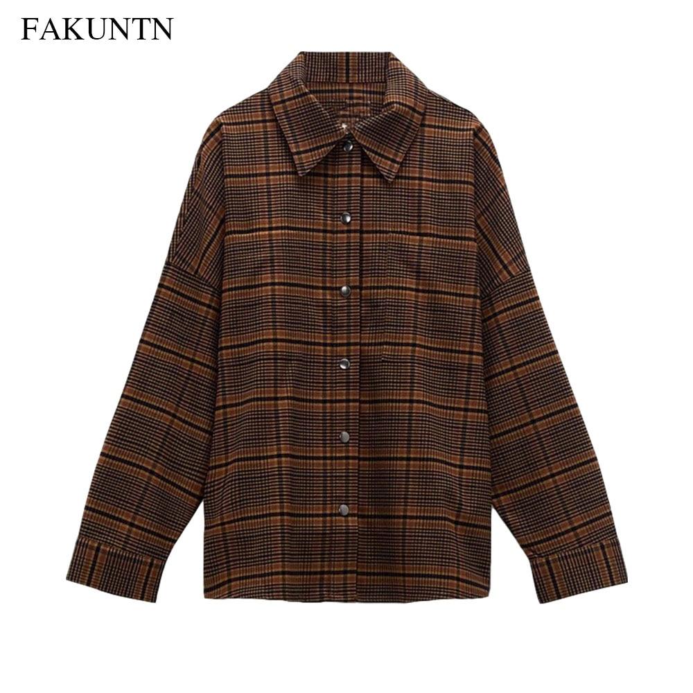 Autumn Fashion Women Blouse Shirt 2020 Female Jacket Casual Loose Long Sleeve Ladies Vintage Plaid Coats