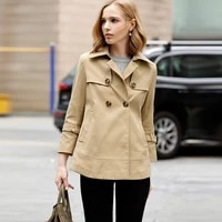 women cotton trench short trench new arrival spring autumn outerwear turn down collar double breasted coat khaki loose top