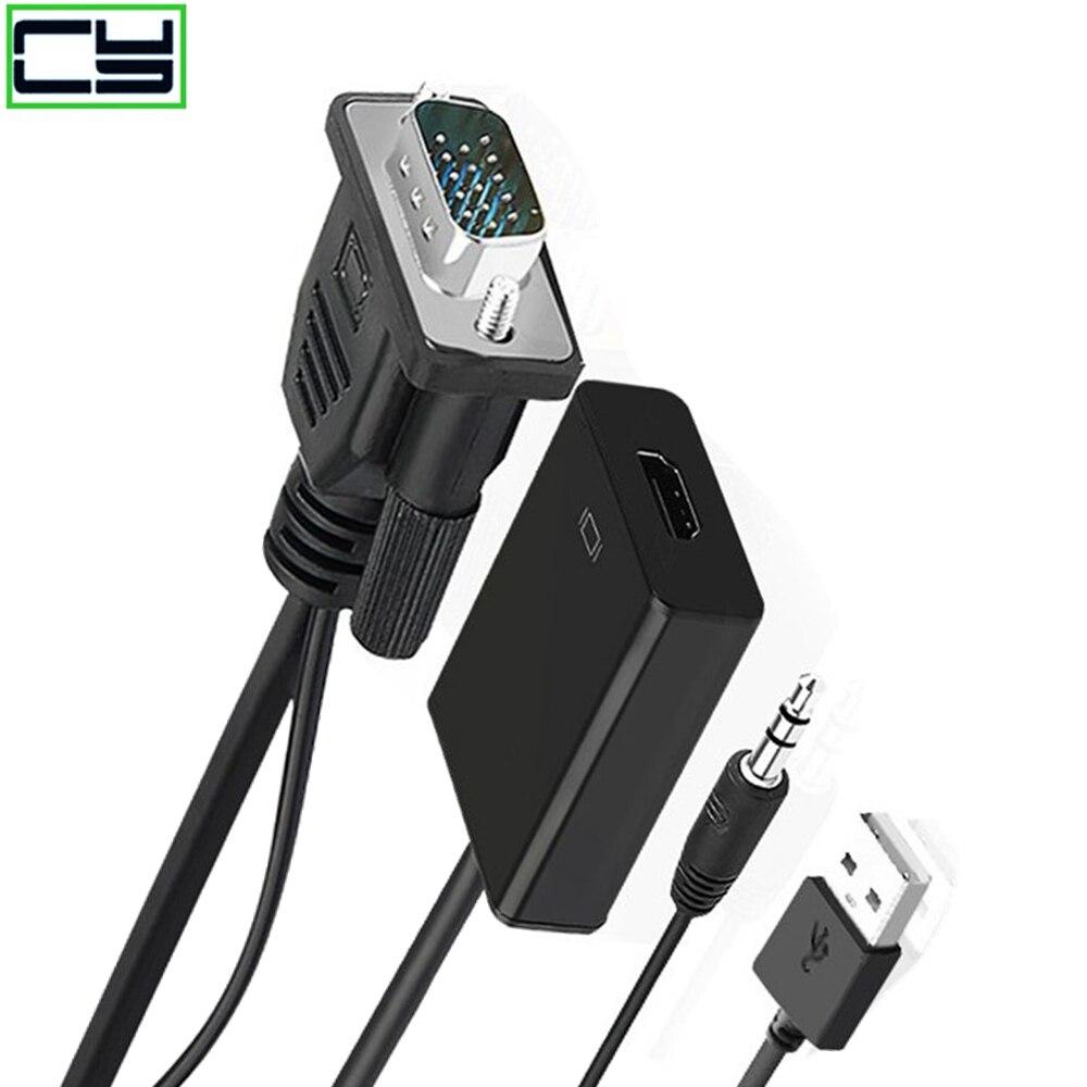 Convertisseur de ligne VGA vers HDMI avec alimentation audio vers la ligne de conversion de TV dordinateur portable hdim