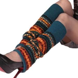 Winter Over Knee Long Knit Cover Crochet Leg Warmers Legging Chic Warm Striped Calentadores Pierna Mujer Thigh Stulpe Legwarmers