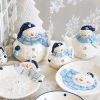 blue snowman plates christmas gift home decor snack dishes kitchen utensils tablware