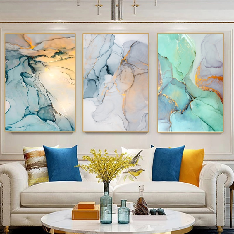 Arte pintura abstrata aquarela padrão pintura cor tinta tríptico cartazes e impressões para casa sala de estar decoração da parede