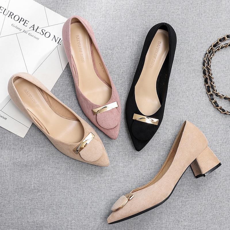 Pointed Heels Black Heels Pumps Block Heel Elegant Shoes For Woman Dress Shoes Women Chaussure Maria