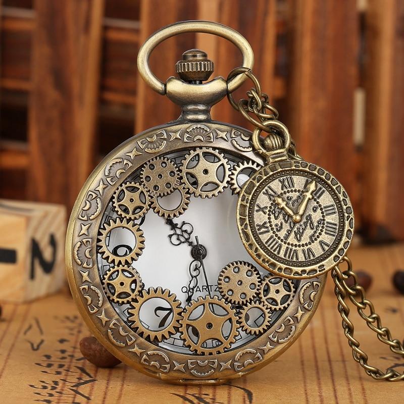 Vintage Antique Copper Steampunk Bronze Hollow Gear Quartz Pocket Watch Necklace Pendant Clock Chain