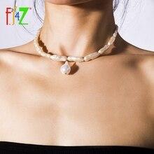 F.J4Z perla irregular Chokers bohemias collares de cuello de mujer disfraz de perlas simuladas collares para regalo de joyería
