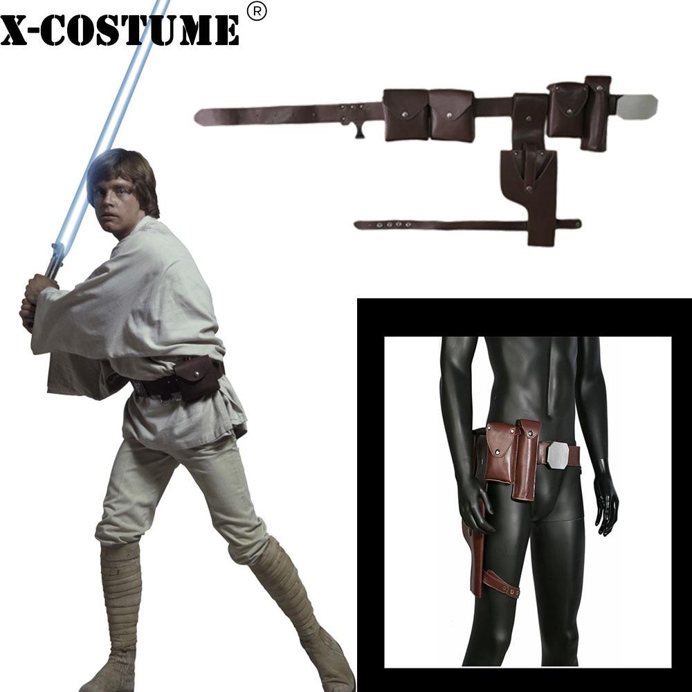Cinturón de Star Wars Luke Skywalker, accesorios de disfraz de Cosplay, cinturones marrones de cuero PU, cinturones de Cosplay para fiesta de Halloween con pistolera