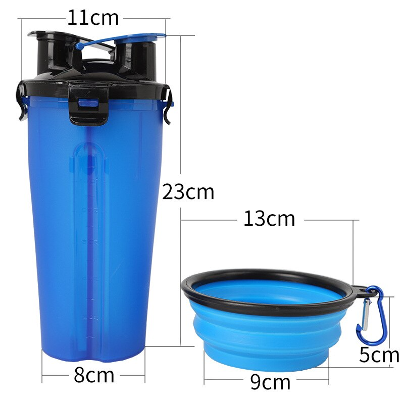 Travel Pet Feeder Dog Water Bottle Dispenser with Bowl Outdoor 2 in 1 Dog Mug Food Container for 350ml/12oz Water and 250g Snack
