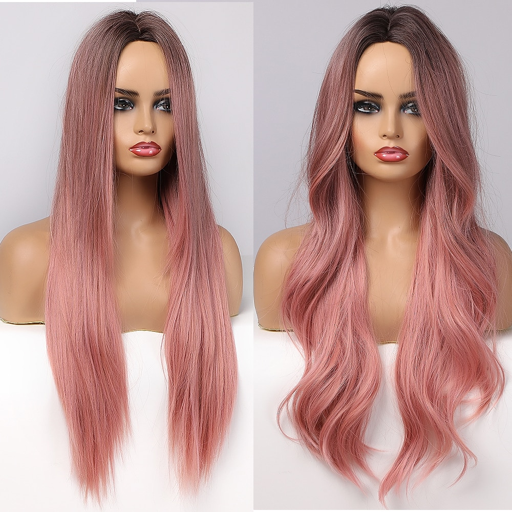 ALAN EATON Long Wavy Synthetic Wigs Ombre Black Pink Wigs for Women Cosplay Natural Middle Part Hair Wig High Temperature Fiber