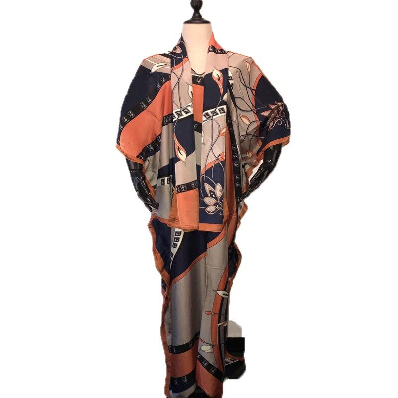 Length 150 cm Width 110 Cm Elegant V-neck Summer Lady  Kaftan Silk long dresses traditional Muslim women dresses African clothes