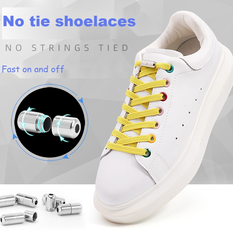 Flat Shoelaces for Sneakers No Tie Shoe laces Elastic Laces without ties Kids Adult Quick lace for Shoes Rubber Bands Shoestring