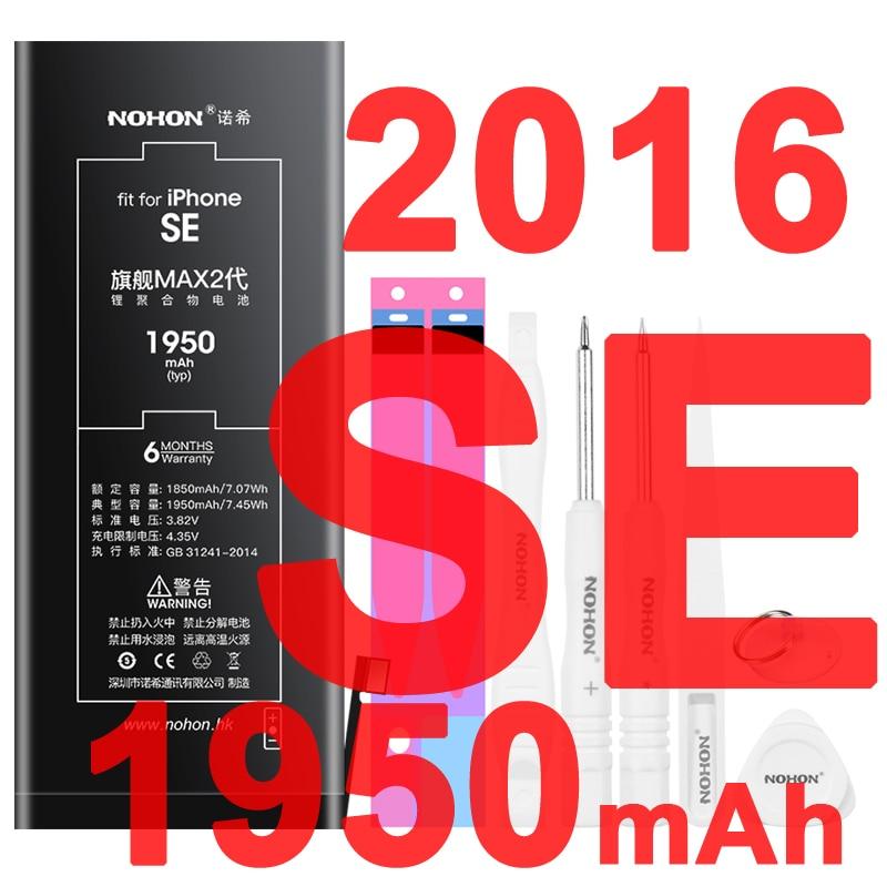 Get Nohon Battery For iPhone SE 2016 iPhoneSE 5SE 1850mAh-1950mAh High Capacity Li-polymer Batteries For Apple iPhone SE SE1 + Tools