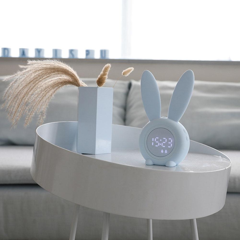 Termómetro de Control táctil con pantalla de temperatura en forma de conejo despertador de regalo despertador de luz nocturna despertador Digital para niños
