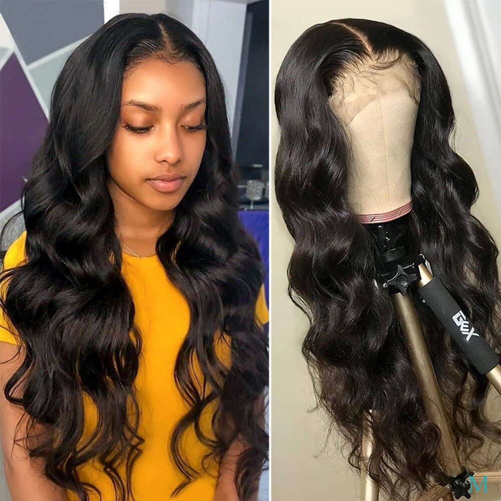 "Pelucas de cabello humano 13x4 con encaje frontal para mujeres negras 10 ""-24"" pulgadas 150 densidad cabello ondulado peruano Natural Color Remy Piaoyi Hair"