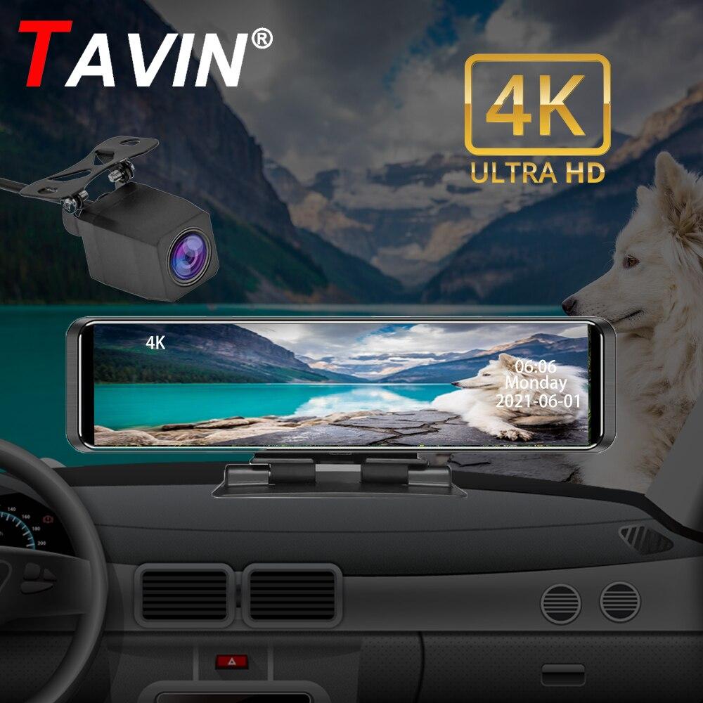12 дюймов Видеорегистраторы для автомобилей потоковый медиа-Dash Cam 1080P Touch Экран Двойной объектив 4K видео Регистраторы Зеркало заднего вида ре...