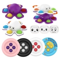 new anti stress spinner face changing push bubble sensory toy octopus spinning top stress relief fidget toys for kids adults