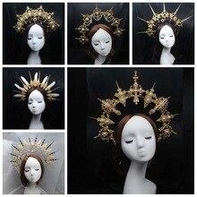 Pacchetto materiale fai-da-te gotico Halo Crown fascia splendida chiesa Vintage Mary barocco Tiara copricapo Lolita copricapo vergine