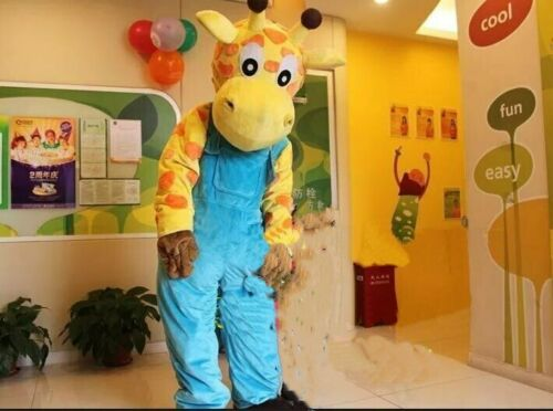 زي تميمة الزرافة الكرتونية ، تأثيري ، حفلة تنكرية ، حيوان ، هالوين ، عيد الفصح ، شاشة عرض للبالغين