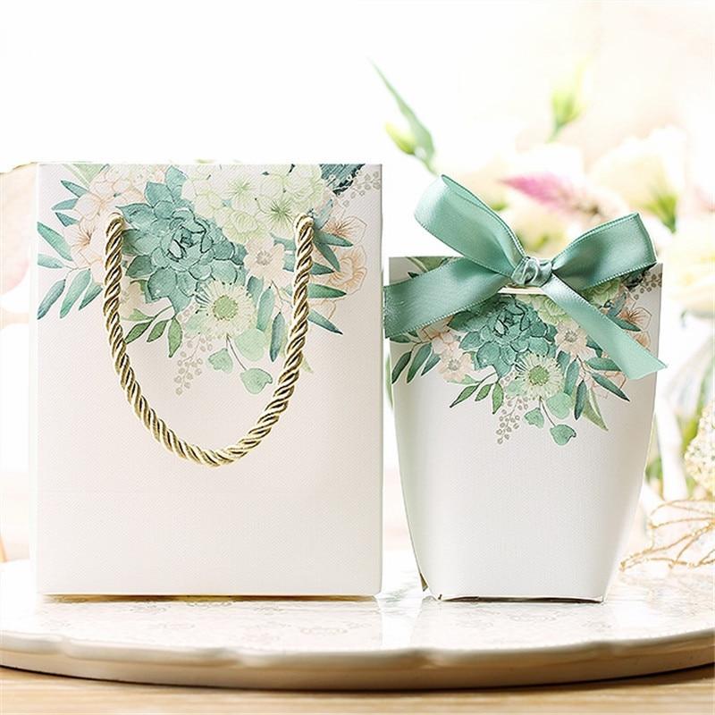 أكياس حلوى خضراء مع طباعة الأزهار ، صندوق هدايا مع تغليف للمجوهرات ، أكياس عيد الميلاد