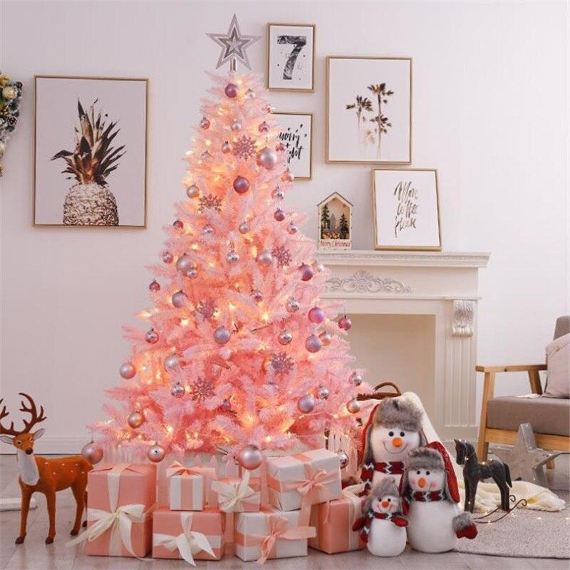 شجرة عيد الميلاد الاصطناعية ، حامل بلاستيكي ، زينة عيد الميلاد ، حفلة منزلية ، شجرة مصغرة وردية